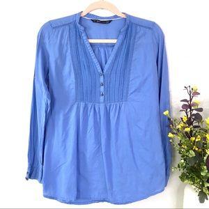ZARA Popover peasant blouse popover blue